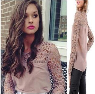 2015 мода повседневная блузка, выдалбливают кружева рукавом, рубашки шифон женские карьеры
