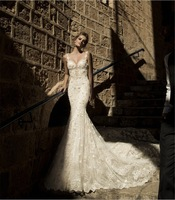 100%High Quality 2015 New Arrival Formal Open Back Lace Mermaid Wedding Dress Long Train Stock/Custom Gorgeous Bridal Gown
