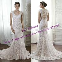 New Arrival 2015 New Fashionable Modest Mermaid Cap Sleeve Lace Bride Wedding Dress Custom Made