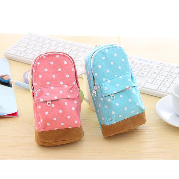 Polka dot school bag korea stationery small fresh canvas knapsack pencil case coin purse storage bag mobile phone bag(China (Mainland))