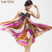 Personality casual plus size suspender skirt fashion female print spaghetti strap faux silk one-piece dress