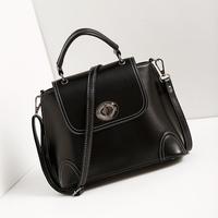 2015 new shiny pu leather women's handbag fashion sewing thread woman bag shoulder motorcycle cross-body bag sac femme vintage