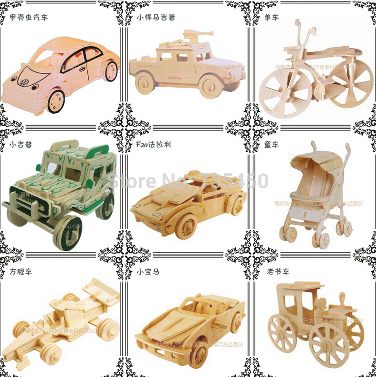 3pcs-lot-DIY-Wooden-Crafts-3D-cars-baby-carriage-baby-Toys-children ...