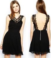 Fashion New 2015 Women dress Bodycon Black elegance print crop top and dress backless sexy dress Club Dress