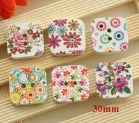 Painted square wooden buttons, 2 holes sewing button for DIY, Wood scrapbooking button (ss-a720-216)