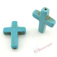 50pcs/lot T46 Wholesale Aquamarine Cross Calaite Kallaite Turquoise Beads Loose Gemstones 20x30mm