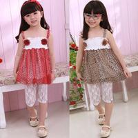 New Brand 2015 Girls Kids Casual Summer Clothes Flower Leopard Princess Party Chiffon Dress