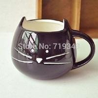 New Lovely Cute Little Black Cat Coffee Milk Ceramic Mug Cup best New Year valentine' gift mug set  free shipping-Black