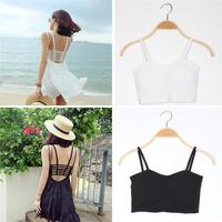 Women Sexy Padded Bra Crop Tops Blouse Vest Cut Out Shirt Summer Beach Tank Cami black white