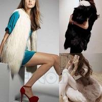 Free Shipping Women Shaggy Vest Sleeveless Jacket Coat Faux Fur Outerwear Long Hair Waistcoat