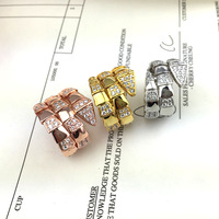 Large Supply Sterling Silver Ring Plated With Rose Gold Spring Thri Layers Flexibale Adjust Finger Ring