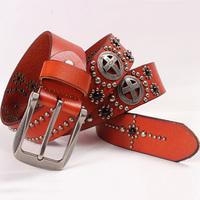 rivet punk belt men women cowhide leather pin bucklel fashion jeans blet unisex genuine leather free shipping