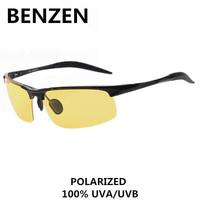 2015 Night Driving Glasses Men Polarized Alloy  Hd Vision Night Driving Glasses Male  Driving Glasses With Case 8001