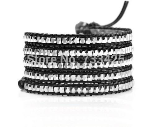 Free shipping!High Quality Natural Stone Leather Wrap Bracelet Fashionable cheap Bracelet Unisex Natural silver bead Bracelet(China (Mainland))