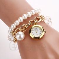 Free Shipping Women Faux Pearl Rhinestone Chain Bracelet Round Dial Analog Wrist Watch Fashion