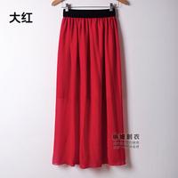 2015 new summer Europe and America women elastic waist chiffon skirts sexy long skirt Plus Size DQ134