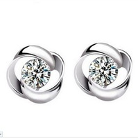 Wholesale Fashion Jewelry 925  Silver Crystal Flower Shape Ear Stud Earrings Ear Ring Pendant