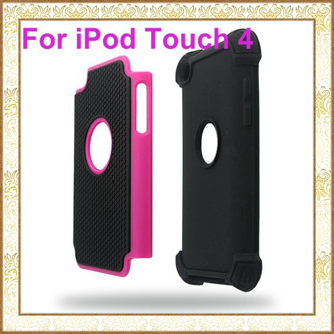 DHL 50pcs/Lot Washable Rugged Armor Heavy Duty Protection Back Silicone Protective Cover Case For iPod Touch 4 4G 4TH Wholesale(China (Mainland))