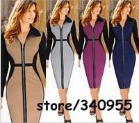Women Dresses Hot Sale Elegant Zip Patchwork Party Bodycon Business Pencil Dresses Size S M L XL XXL