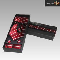 2015 New Fashion Accessories Polyester Silk Stripe pattern Men Men's jacquard weave Party Wedding Neckties Tie 3pic