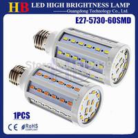 1pcs Super Bright E27 E14 B22 Base SMD5730 60Led 15W LED Corn bulbs White/Warm white AC110/220V LED lighting