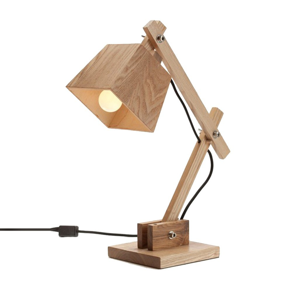 EMS Free Ship Table Lamps E14 Contemporary Wooden Bedside Desk Lamps Handmade Table Lighting LBMT-XG(China (Mainland))