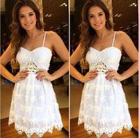 2015 Women's European Fashion Brand Women Suspenders sexy white lace chiffon dress Slim