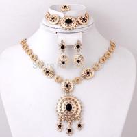 2015 Design Black Green Red Round Shape Zircon Beads Wedding Bridal Gold Plated Crystal Rhinestone Jewelry Sets