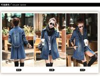 Free Shipping Women's Denim Trench Slim JeanTrench Girls Fashion Dust Coat Denim Blue Wind Coat