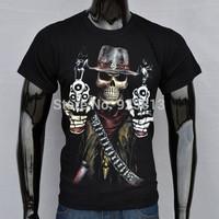 New 2015 Punk Skull&Gun Printing Hip Hop Shirt 3d/3D Men's o Neck Black t shirts Man tshirt