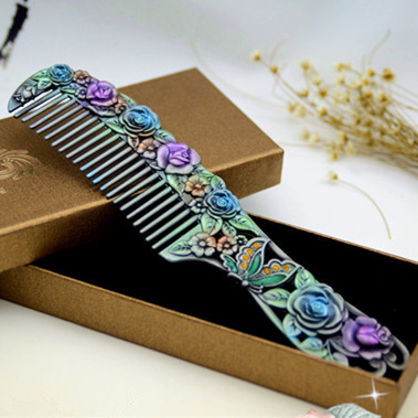 17C02 Classic butterfly and flower carved comb Chinese Vintage cosmetic metal comb Unique handmade colored drawing crafts gifts(China (Mainland))