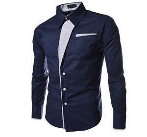 Очаровательная мужчины корейской качество с длинным рукавом новое поступление мужчины тонкий дизайн свободного покроя платье рубашка