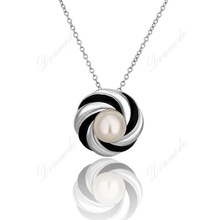 Free shipping Fashion jewlery Wholesale 18K Real Gold Plated Elegant Pearl Pendants Necklace For Women N659