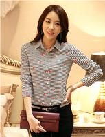 1208 2015 spring print women's shirt female long-sleeve chiffon shirt  blusas femininas chiffon manga longa
