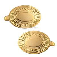Mens Classic New Golden Plate Enamel Blue Ovlal Egg Shaped Formal Business Wedding Cufflink CKB002-1