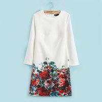 2015 Spring New Arrival Fashion Dress Lower Hem Floral Printing Dress Long Sleeve Loose Dress Women