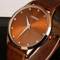 2015 New SINOBI Watches Luxury Brand Leather Strap Watch for Men Ultra-thin Quartz Analog Military Watch Waterproof Wristwatch