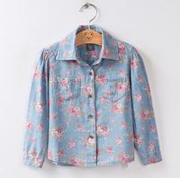 CS53 casual 2015 flower print denim girls blouse 2-10 age long sleeve girl shirt free shipping 6pcs/ lot