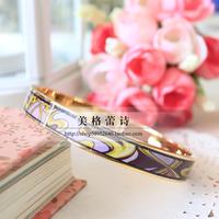 FREY cloisonne enamel narrow Mucha pink gold bracelet gem quality