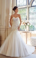 2014 New Custom Mermaid Applique Wedding Dresses Bridal Gowns  1-0718