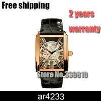 ar4233 AR4203 AR4230 new Fashion Vintage Antique Bronze Skeleton Mechanical Watch Men Leather Automatic watches men luxury brand