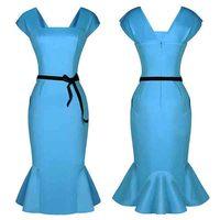 High elasticity 2015 Spring Summer Women's Short-Sleeve Knee-Length Sexy Slash Neck Fishtail Dress Ladies Elegant Office Dresses