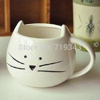 New Lovely Cute Little White Cat Coffee Milk Ceramic Mug Cup best New Year valentine' gift mug set  free shipping-white