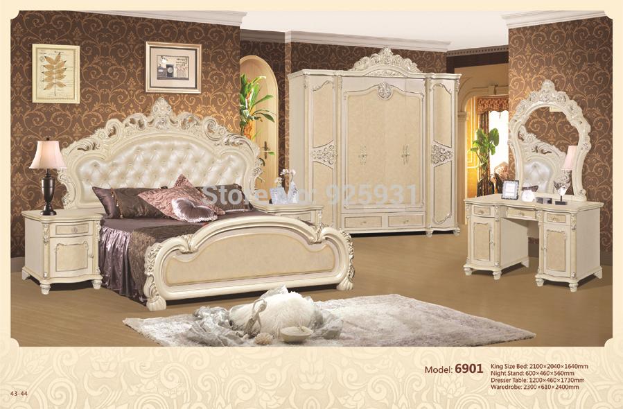 No 6901 Luxury Bedrom Euro Desgine Bedroom Furniture 5 Pcs Per Set King