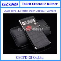 New Luxury phone Signature Touch crocodile leather  MTK 6582 smart phone Multi language 13MP camera sapphire VIP luxury phone