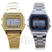 Free Shipping Men's Women's Fashion Stainless Steel LCD Digital Sports Stopwatch Wrist Watch