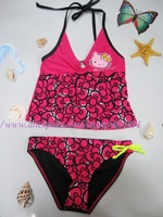 5sets/lot (7-16Y) girls petti hello kitty swimwear with bow, print bow swimsuit for summer Girls 2-pieces swimsuit free shipping