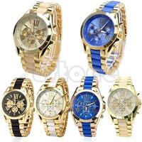 Free Shipping Geneva Stainless Steel Roman Numerals Men's Waterproof Quartz Analog Wrist Watch
