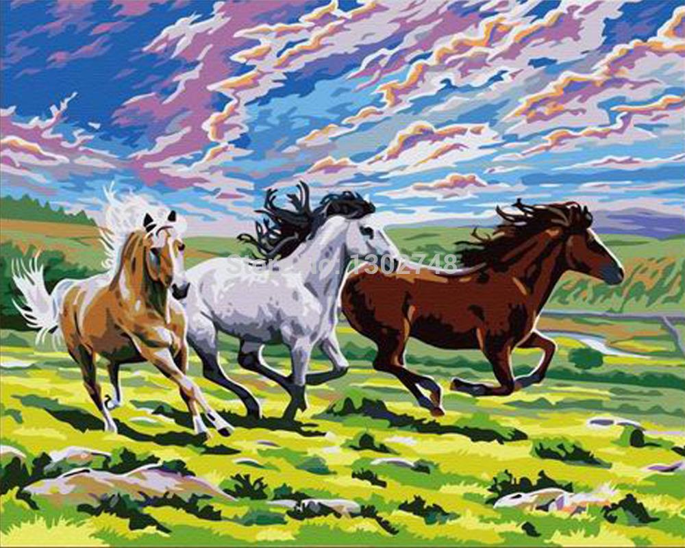 Horse Sitting Drawing Three Horses Diy Diamond
