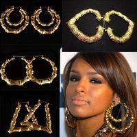 Wholesale Jewelry Big Large Bamboo Hoop Earrings Hip hop Earrings 12pairs/lot